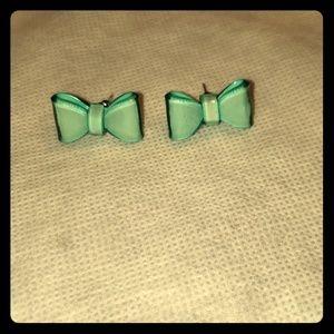 NWOT 🎀Teal greenish bow earrings
